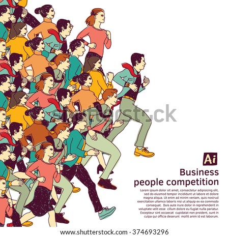 bus people big group competition color. Color vector illustration. EPS8