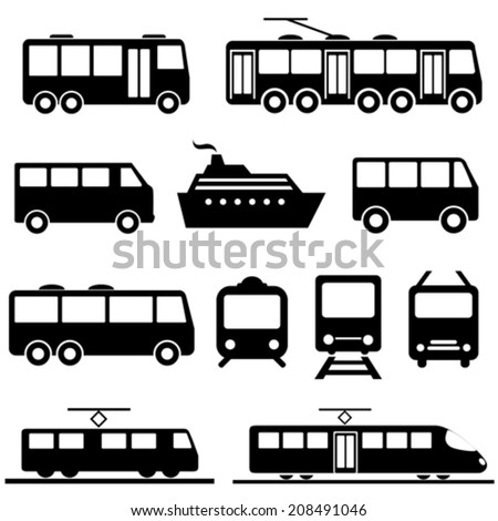 Bus, ship, train public transportation icon set - stock vector