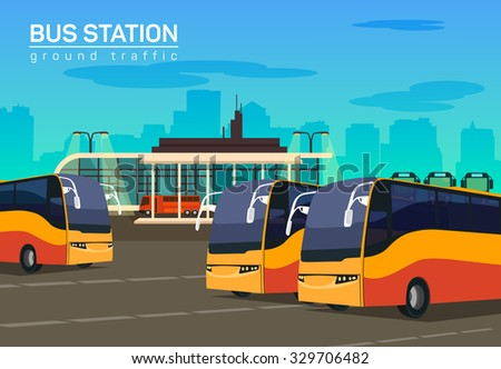 Bus station, vector flat background illustration - stock vector
