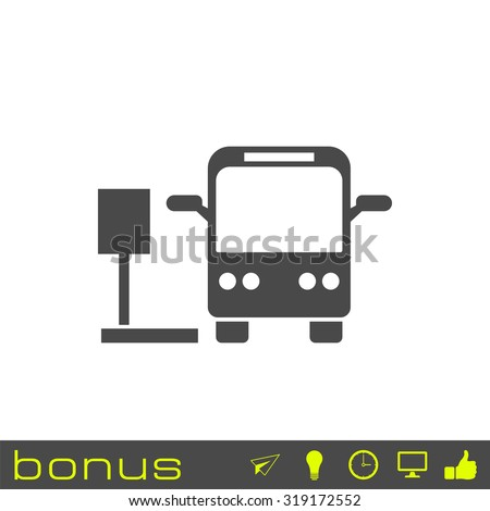 bus stop sign icon - stock vector