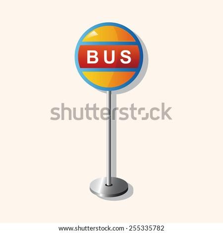 Bus stop theme elements - stock vector