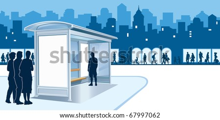 Bus stop with blank advertising billboard and people on a street - stock vector