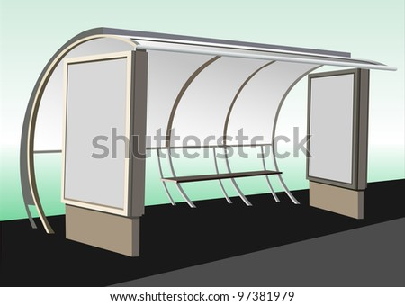 Bus stop with blank banners - stock vector
