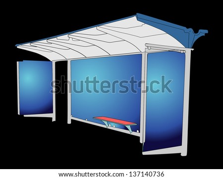 Bus stop with blank banners isolated on black background - stock vector