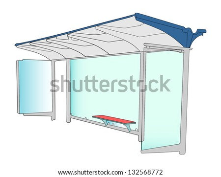 Bus stop with blank banners isolated on white background