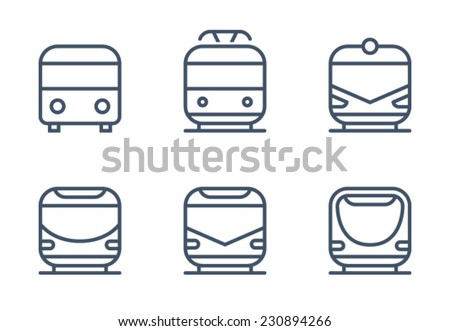 Bus Tram Train Icon Symbol Set - stock vector