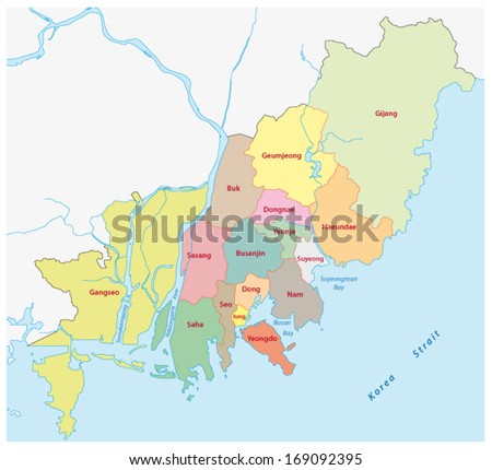 Busan Administrative Map Stock Vector Shutterstock - Busan map