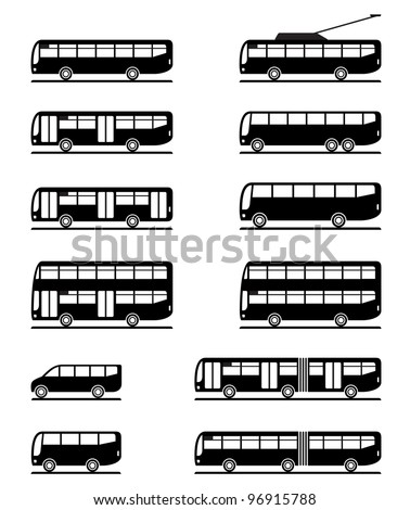 Buses and coaches - vector illustration - stock vector