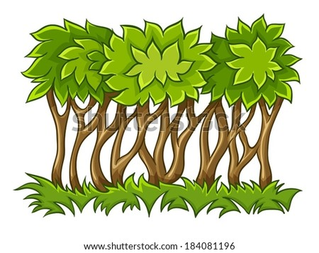 Bush with green leaves on grass. Eps10 vector illustration. Isolated on white background - stock vector