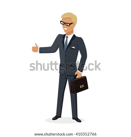 Businesman show gesture thumb up. Young successful man in glasses do business hand gesture shows good job isolated on white background. Approval of the praise and agreement. Vector illustration - stock vector