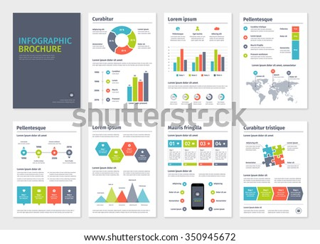 Business A4 brochures template with infographic vector elements. - stock vector