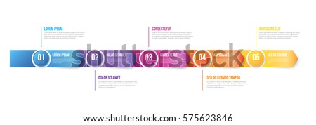 Business abstract 3d looks arrow infographic template timeline with 5 steps for bright colored presentation