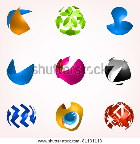 Business abstract icons set - stock vector