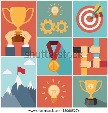 business achieving goal, success concept vector illustrations - stock vector