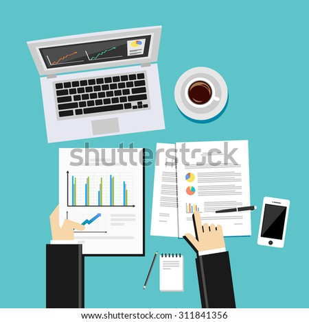Business analysis and evaluation concept illustration. Flat design illustration concepts for business growth, management, analysis,  business statistics, brainstorming. - stock vector