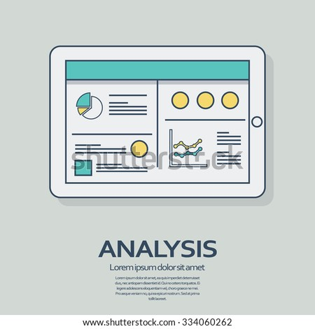 Business analysis background with tablet computer devices and line art icons responsive design. Presentation graphs, charts on screen. Eps10 vector illustration. - stock vector