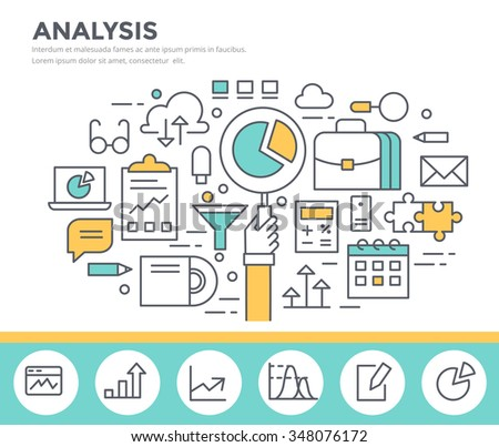 Business analysis concept illustration, flat design, thin line style - stock vector
