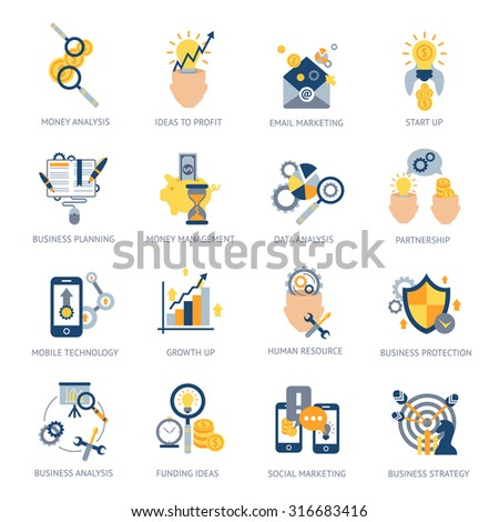 Business analysis icons set with money idea campaign planning isolated vector illustration - stock vector