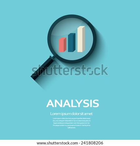 Business Analysis symbol with magnifying glass icon and chart. Eps10 vector illustration. - stock vector