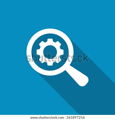 Business Analysis symbol with magnifying glass icon and gear. SEO icon - stock vector