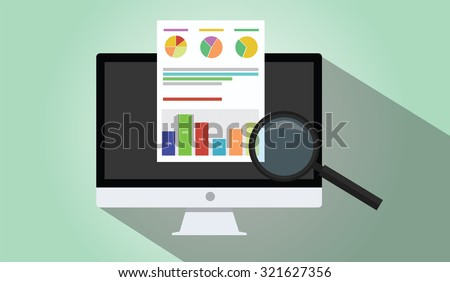 business analyst with laptop notebook imac dekstop graph document flat illustration - stock vector