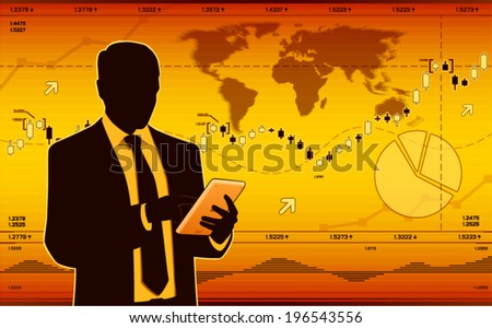 Business analyst with tablet. (EPS10 vector) - stock vector