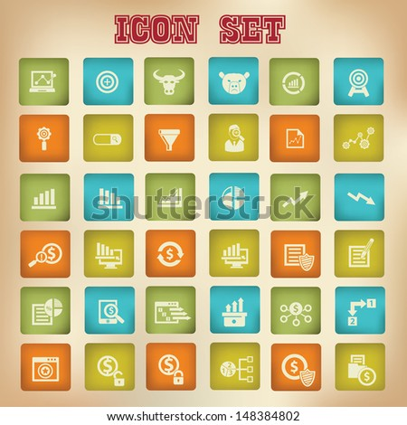 Business and analysis icons,Vintage version,vector - stock vector
