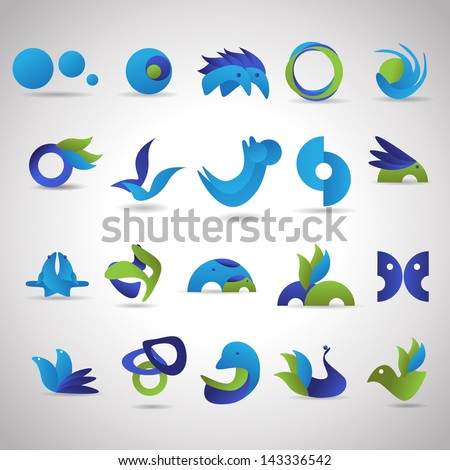 Business And Animals Symbols Set - Isolated On Gray Background - Vector Illustration, Graphic Design Editable For Your Design. Logo Symbols - stock vector