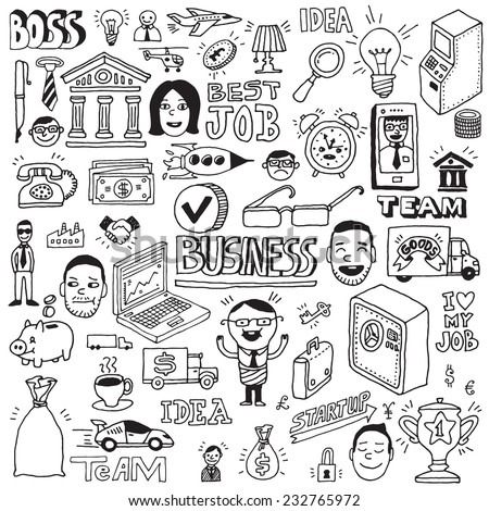 Business and banking hand drawn doodle illustrations vector set. - stock vector