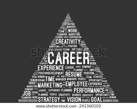 Business And Career Pyramid Word Cloud On Blackboard - stock vector