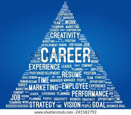 Business And Career Word Cloud Pyramid On Blueprint - stock vector