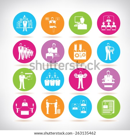 business and company management icons set - stock vector