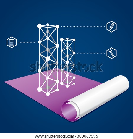 Business and construction graph on a blueprint - stock vector