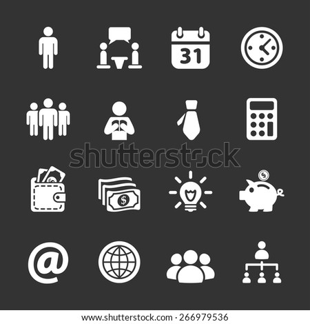 business and corporate icon set, white version, vector eps10. - stock vector
