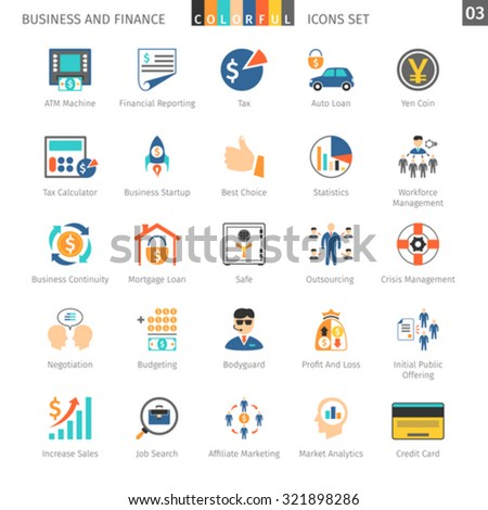 Business and FIinance Colorful Icons Set 03 - stock vector