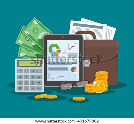 Business and finance concept vector illustration in flat style design. Tablet with financial graphs and charts. Briefcase, calculator, money, paper sheet. - stock vector