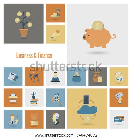 Business and Finance, Flat Icon Set. Simple and Minimalist Style. Vector - stock vector