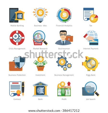 Business And Finance Flat Icons Set. Business Icons Vector set. Business Icons Picture set. Business Icons Image set. Business Isolated Icons set. Business Flat Icons Set. Vector Illustration - stock vector