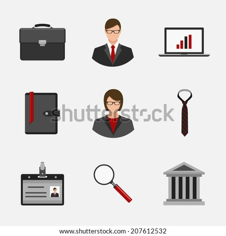business and finance flat style icons set - stock vector