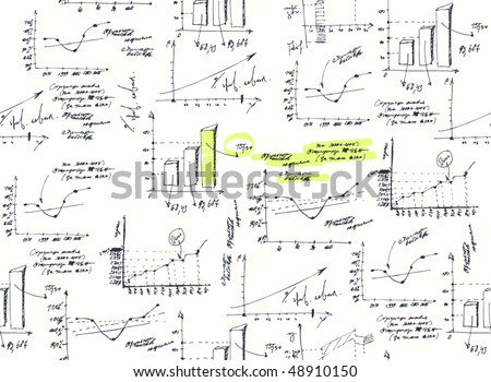 Business and finance graphs on white background. (Vector, seamless). - stock vector