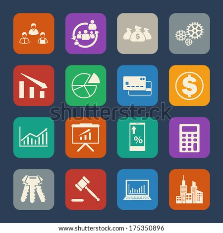 Business and Finance icon. Flat icons set. Vector - stock vector