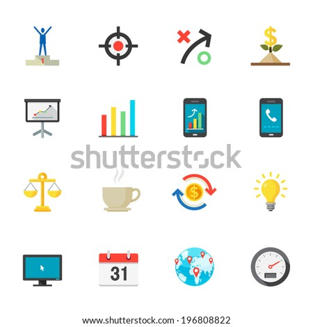 Business and Finance Icons : Flat Icon Set for Web and Mobile Application - stock vector