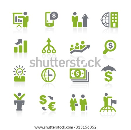Business and Finance Icons // Natura Series - stock vector
