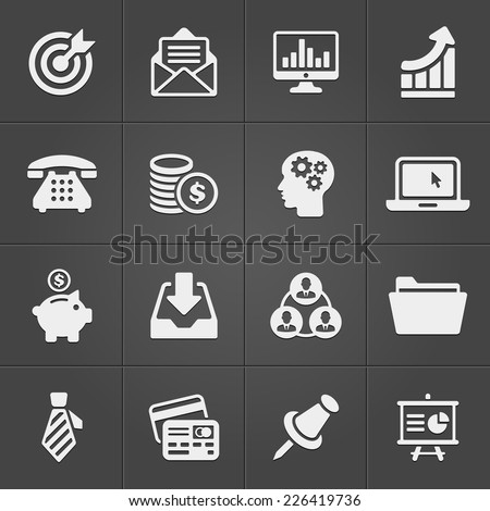 Business and finance icons on black set 2. Vector illustration - stock vector