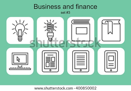 Business and finance icons. Set of editable vector monochrome illustrations. - stock vector
