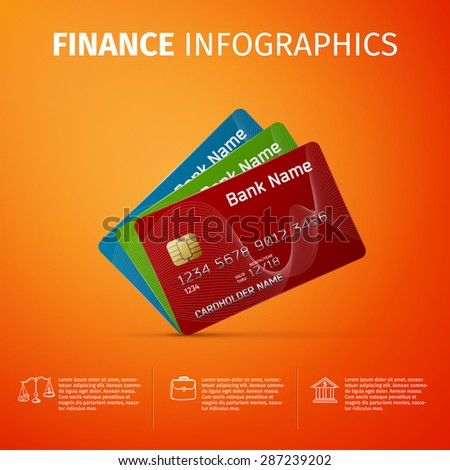 Business and finance infographics with plastic credit card