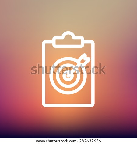 Business and finance target icon thin line for web and mobile, modern minimalistic flat design. Vector white icon on gradient mesh background. - stock vector