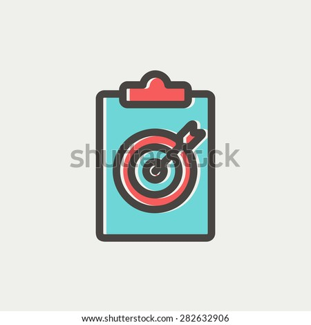 Business and finance target icon thin line for web and mobile, modern minimalistic flat design. Vector icon with dark grey outline and offset colour on light grey background. - stock vector
