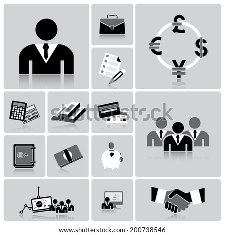 Business And Financial Icon Set Design Template