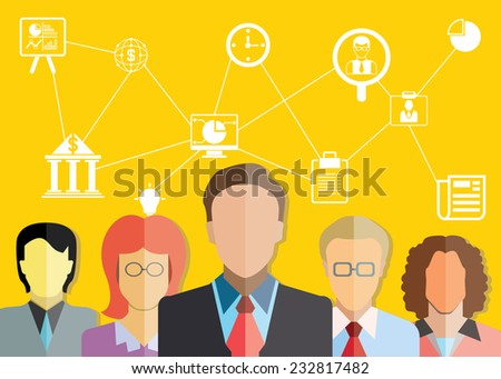 business and financial management concept, yellow background - stock vector